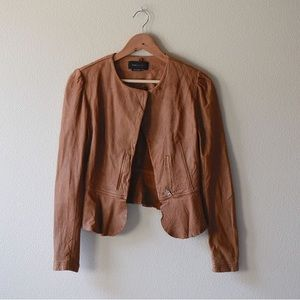 BCBG Max Azria leather peplum jacket